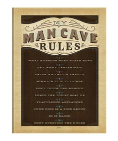 Love this 'Man Cave Rules' Wall Canvas
