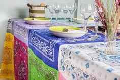 """El blog de """"Coser fácil y más by Menudo numerito"""": Un divertido mantel multicolor para muchas ocasiones"""