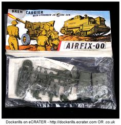 Airfix Bren Carrrier With 6 Pounder Anti Tank Gun 1-72 Scale. Vintage Type 3 Red / Stripe Bag Kit .