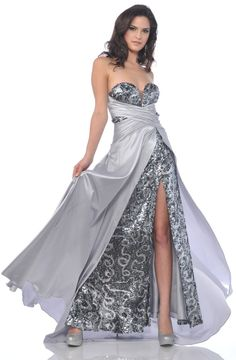 Silver Sequin Gown Red Carpet Formal Open Slit Strapless Sweetheart $297.99