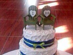 Beach Chair Adirondack Cake Topper Mr. & Mrs . by NauticalWeddings