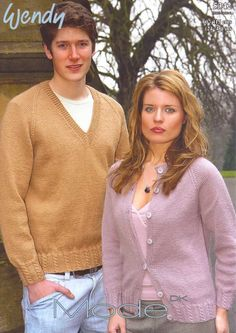 KNITTING PATTERN WENDY 5342 DK ROUND NECK CARDIGAN AND V NECK SWEATER JUMPER £2.60