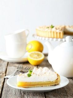 42070483 - lemon meringue pie on plate on grey wooden background Greek Cooking, Lemon Meringue Pie, Camembert Cheese, Panna Cotta, Dairy, Plates, Wooden Background, Ethnic Recipes, Desserts