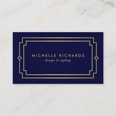 Elegant Art Deco Professional Navy/Gold Business Card Salon Business Cards, Gold Business Card, Minimalist Business Cards, Elegant Business Cards, Professional Business Cards, Business Names, Business Card Design, Navy Gold, Dark Navy