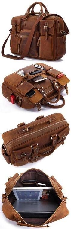 VINTAGE HANDMADE GENUINE CRAZY HORSE LEATHER BUSINESS TRAVEL BAG /DUFFLE BAG/LUGGAGE BAG(W100) - Thumbnail 4