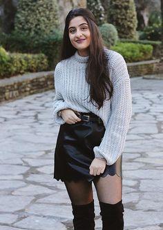 Black Scallop Hem Mini Faux Leather Skirt
