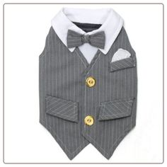 Kelsey Dog Vest by Ruff Ruff Couture adds style to your pooch's wardrobe collection. Our Kelsey Vest features a classic cut grey pinstripe vest complete with bow tie and gold buttons. It's just in time for brunch at the club! Dog Tuxedo, Grey Tuxedo, Tuxedo Vest, Gray Tux, Dog Vest, Dog Shirt, Maude, Fall Vest, Dog Wedding