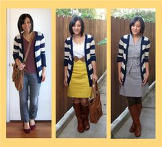 Patterned cardigans are fun because they add an extra notch of visual interest! I only have one, my striped cardigan, but there are plenty of other patterns you can get: polka dots, floral, animal print, and geometric prints, to name a few.    In these outfits, the striped cardi is the focal point
