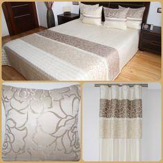 Dekoracyjne komplety sypialniane jasnobeżowe z cappucinowym ornamentem