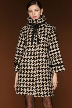 Black+White+Long+Sleeve+Houndstooth+Woolen+Coat+$49.5