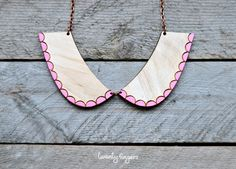 Cute wood Pendant collar (laser cut & hand painted). $14.00, via Etsy. @Jennie Roberson, i feel like you'd like this!