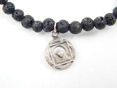 Handmade Our Lady of Grace Lava Stone Stretch Bracelet - Religious Jewelry - Catholic Jewelry - Black Beaded Catholic Jesus Bracelet by LuxMeaChristus on Etsy