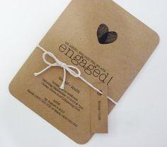 Kraft Brown Paper Engagement Invitation Custom by MintConfetti