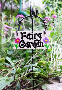 Items similar to Fairy Garden Sign Fairy Crossing Miniature Wood Painted Mini Red Mushroom Wire Shepherds Crook Hook Fae Faeries Tiny Cute Decor on Etsy