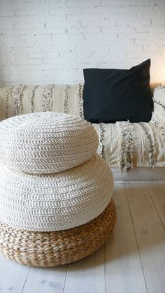 This pouffe or hassock is handmade crochet cotton. To use as floor pillows around the Meditation Rooms, Meditation Cushion, Large Floor Cushions, Floor Pillows, Knitted Pouffe, Crochet Pouf, Zen Room, Winter Home Decor, Rugs