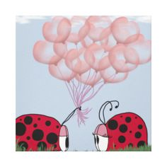 Ladybird is presenting to his new love, a bouquet of beautiful, pink heart shaped balloons. Wildlife Paintings, Wildlife Art, Pink Balloons, Balloon Bouquet, Canvas Prints, Art Prints, Canvas Art, Pretty In Pink, Whimsical