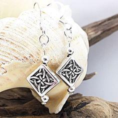 Celtic jewelry, drop earrings silver, Celtic earrings, gift for mom from daughter, handmade dangle earrings Silver Drop Earrings, Gemstone Earrings, Dangle Earrings, Celtic, June Birth Stone, Anklets, Handmade Silver, Artisan Jewelry, Gifts For Mom