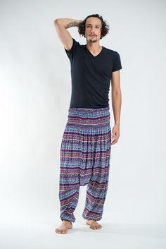 Aztec Stripes Low Cut Men's Harem Pants in Magenta Blue