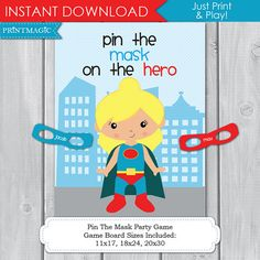 Pin the Mask On the Superhero Girl Printable Party by printmagic