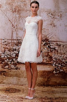 Lace short wedding dress from Monique Lhuillier, Fall 2014