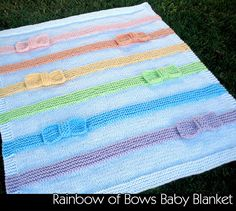 Knitting pattern for Rainbow of Bows Baby Blanket - #ad This looks super cute…
