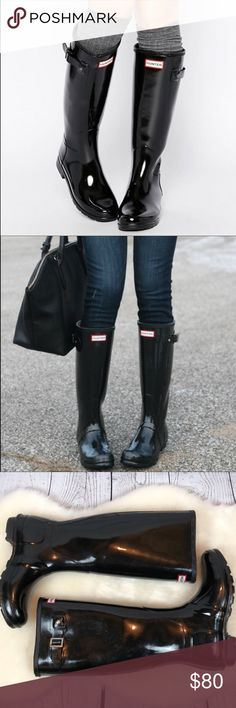 •Hunter• Tall Black Gloss Rain Boots Women's Sz 7 Gorgeous. Condition. You know how amazing these boots are ... I'll save you all the boring details. HUNTER Original Tall Black Gloss Boots Women's Size 7.  They were literally worn twice. Very little wear (small scuff to Hunter sign and small scuff on toe) but seriously they are like new. They look GORGEOUS!!!!! Smoke free home. Perfect Christmas Gift ... SPOIL yourself!!!   You'll. Love. These. Beauties. I will ship same or next day!! 🎄❤️🎄…