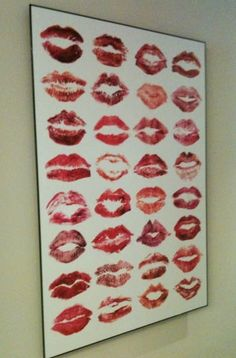*Here's to a long kiss goodnight!* An awesome keepsake after a Girls night. Have the girls leave their lip signatures. Maybe some acrylic spray to help keep it in tact and pop out the color. Frame it and Hang it. Have them sign the back corresponding to their lips and write memories from that night behind it.