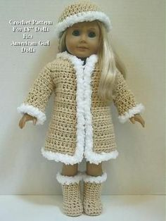 18 doll crochet coat pattern free | Crochet Pattern CS26 Furry Coat Hat Boots Fits American Girl Dolls 18 ...