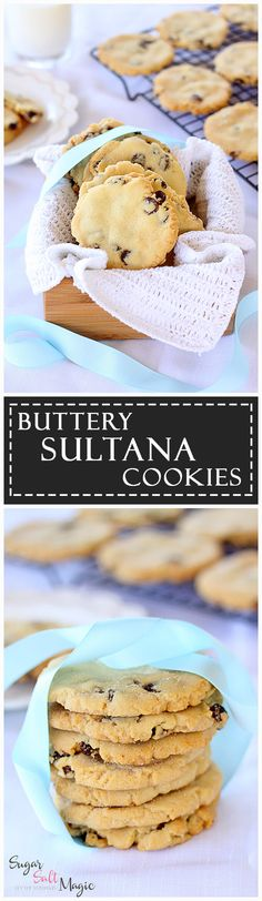 Buttery Sultana Cookies by Sugar Salt Magic. Perfect buttery flavour, chewy on the inside & crispy at the edge. And an easy recipe to boot. via @sugarsaltmagic