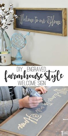 How to make an entryway welcome farmhouse sign, tutorial and printable pattern.