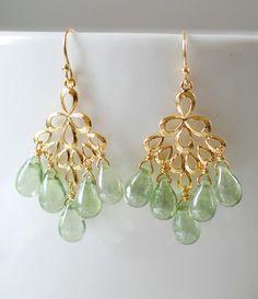 Mint Green Glass Drops Chandelier Earrings