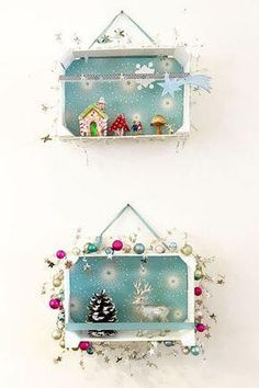 Christmas mood for the wall - made of mandarin crates and Christmas . - Christmas mood for the wall – made from mandarin crates and Christmas decorations! Christmas Mood, Noel Christmas, Diy Christmas Ornaments, Holiday Crafts, Vintage Christmas, Christmas Decorations, Christmas Boxes, Fruit Box, Fruit Fruit