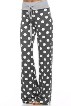 a475bfad0950 Why not be in style with these cute lounge polka dot pants while relaxing.  These trendy polka dot pants are great for a chilly morning