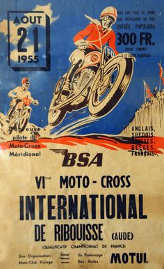 Affiche moto-cross international de Ribouisse (Aude) - Août 1955