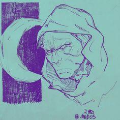 Instagram  : @100daysofsketching  Moon Knight sketch