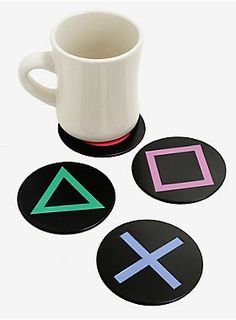 Playstation Metal Coaster Quench your thirst keep your tables from getting ruined and show of your love of gaming. This set of coasters features metal Playstation button logos and soft cork bottoms. Nerd Room, Gamer Room, Cute Dorm Rooms, Cool Rooms, Retro Home Decor, Diy Home Decor, Home Decor Accessories, Decorative Accessories, Game Room Accessories
