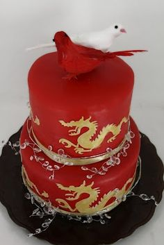 Chinese New Year Cake asian chinese oriental Chinese New Year Cake, Chinese Cake, Chinese New Year Decorations, Chinese Food, Pretty Cakes, Beautiful Cakes, Amazing Cakes, New Year's Cake, Bolo Cake