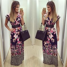 """{Long Dress} By @estilonanaminze  A estampa mais linda eveeer  • #lookdodia…"
