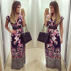 """""""{Long Dress} By @estilonanaminze  A estampa mais linda eveeer  • #lookdodia #lookoftheday #ootd #selfie #blogtrendalert Cinto @magdaocchi_acessorios"""""""