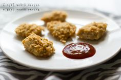 Breaded with pork rinds, these paleo chicken nuggets are then baked in your oven until crispy! dip them in sweet and sour sauce for an extra special keto Primal Recipes, Whole Food Recipes, Snack Recipes, Cooking Recipes, Snacks, Whole30 Recipes, Rice Recipes, Dinner Recipes, Recipes