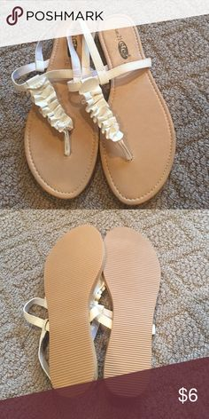 White Sling Back Sandals NWOT Brand new never worn;  going to be honest they don't seem like they are shoes to walk around in for too long but that may just be me. They are really cute though. Rue 21 Shoes Sandals