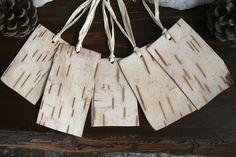 Rustic Birch Tags Ferns Set of 5 by TwigsandBlossoms on Etsy