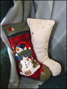 Repurpose Stockings to Throw Pillows : Until Wednesday Calls Fill up your cute but unused stockings with fabric scraps or fibrefill, sew up the top and voila! Adorable holiday pillows!