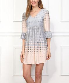 Reborn Collection Gray & Pink Dots Empire-Waist Dress | zulily