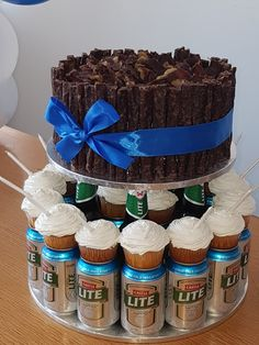 Biltong and Beer Cake. What a hit! He was so impressed.he almost didnt want to share. Wedding Canapes, Cake Tower, 21st Cake, Beer Wedding, Biltong, Party Sweets, Barbie Cake, Cute Desserts, Cakes For Men