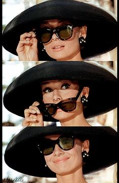 """Can't forget the hat!   Audrey Hepburn as Holly Golightly in 'Breakfast at Tiffany's'. This is when Holly meets Paul Varjack (George Peppard's) older lover Emily (Patricia Neal) as she arrives to see him at the apartment that she pays for via an """"arrangement"""". 1960."""
