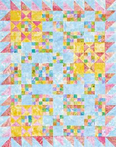 Use Double-Nine Patch blocks, star blocks, and a sawtooth border all made from pastel fabric in a pretty wall hanging.