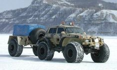 Russian LADA 4x4 with trailer...crazy stuff