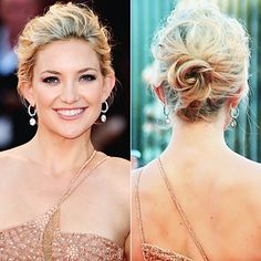 Updo - Undone texture. Kate Hudson, 2012  Hudson's finger-combed tresses preserve her hair's natural texture in this gently twisted chignon—so elegant!