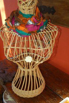 Vintage Wicker Mannequin Torso Dress Form